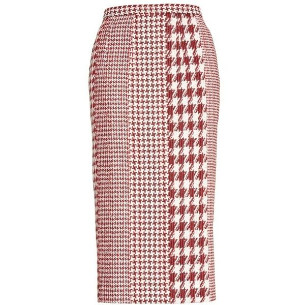 a47cb78d6 Women's Oscar De La Renta Houndstooth Pencil Skirt ($1,390) ❤ liked on  Polyvore featuring skirts, houndstooth skirt, oscar de la renta, print skirt,  plaid ...