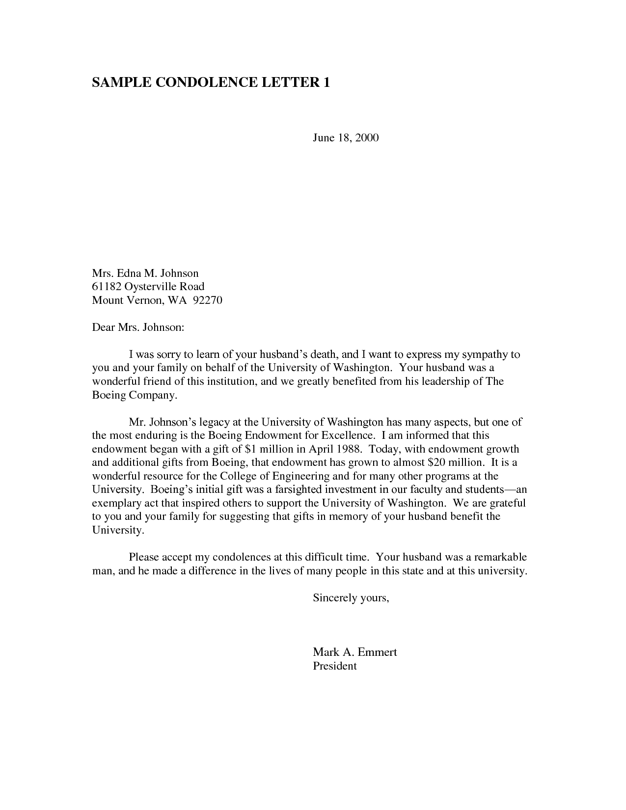 Business Condolence Letter - Free Sample Business Condolence Letter is ...