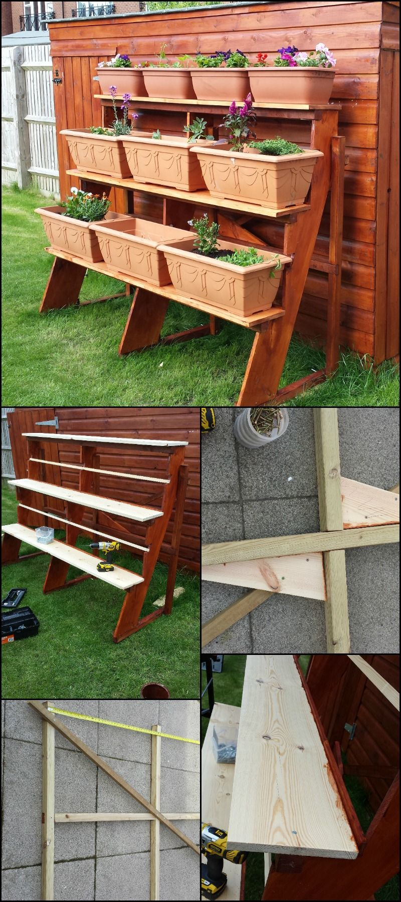 save space by building your own stepped planter garden. Black Bedroom Furniture Sets. Home Design Ideas