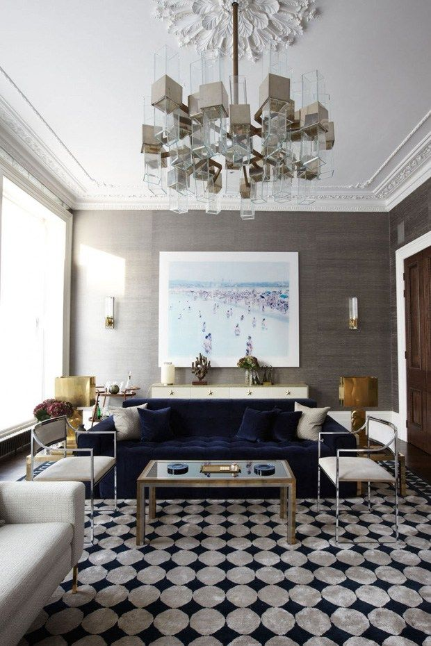 Luxurious Living Room with a navy blue sofa, designed by Peter Mikic, via @sarahsarna