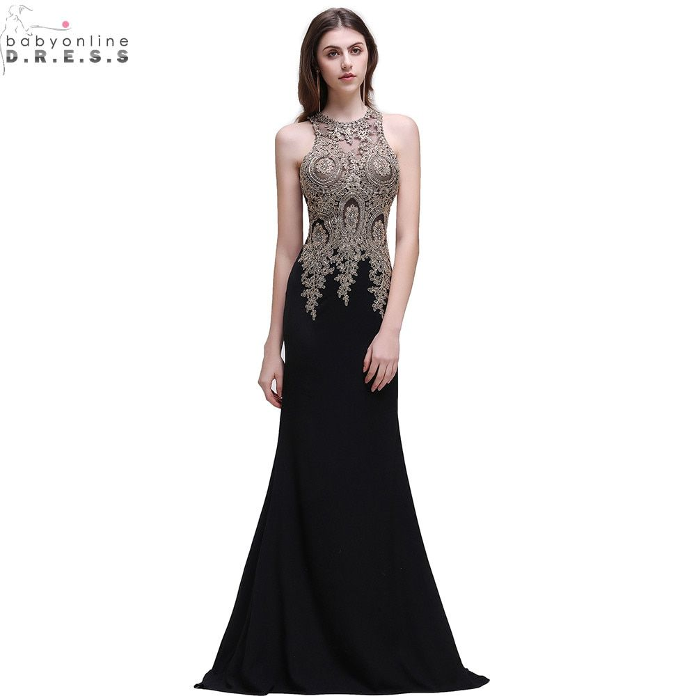 Robe de soiree longue cheap black lace mermaid long evening dress