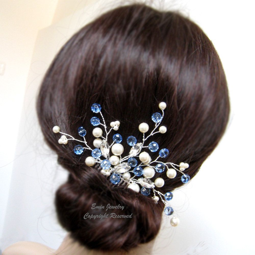 something blue? wedding hair accessories, h1016, crystal and pearl
