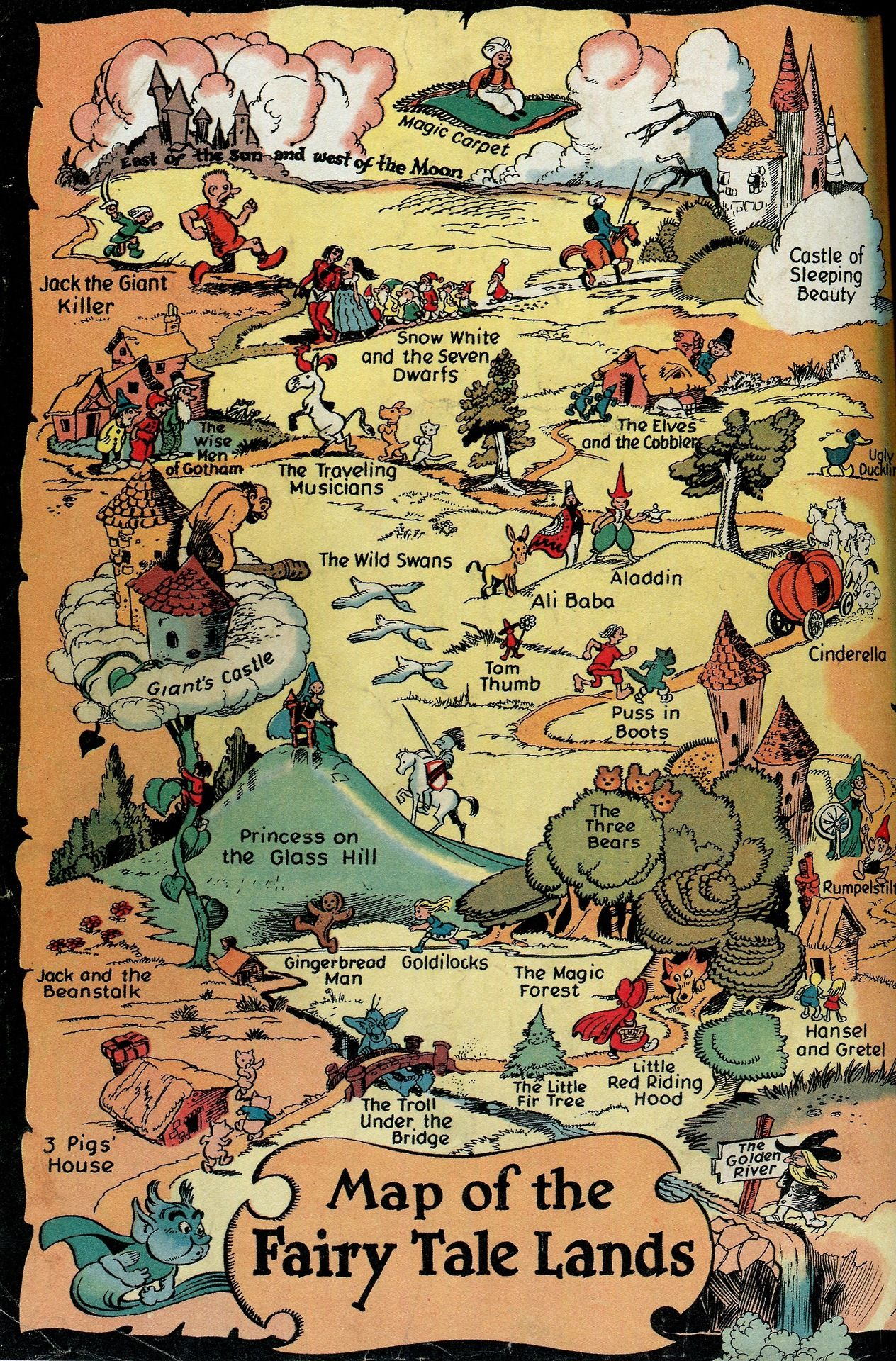 Map Of The Fairy Tale Lands By Walt Kelly As A Back Cover To His Comic Book Series Mid 1940s Fairy Tales Fantasy Map Map