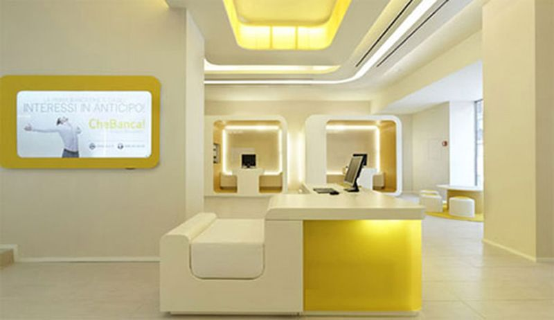 Luxurious office room design with peaceful colors soft for Office design yellow