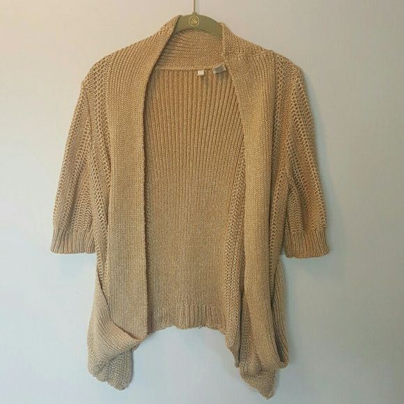 Anthropologie gold open cardigan sweater M | Open cardigan ...