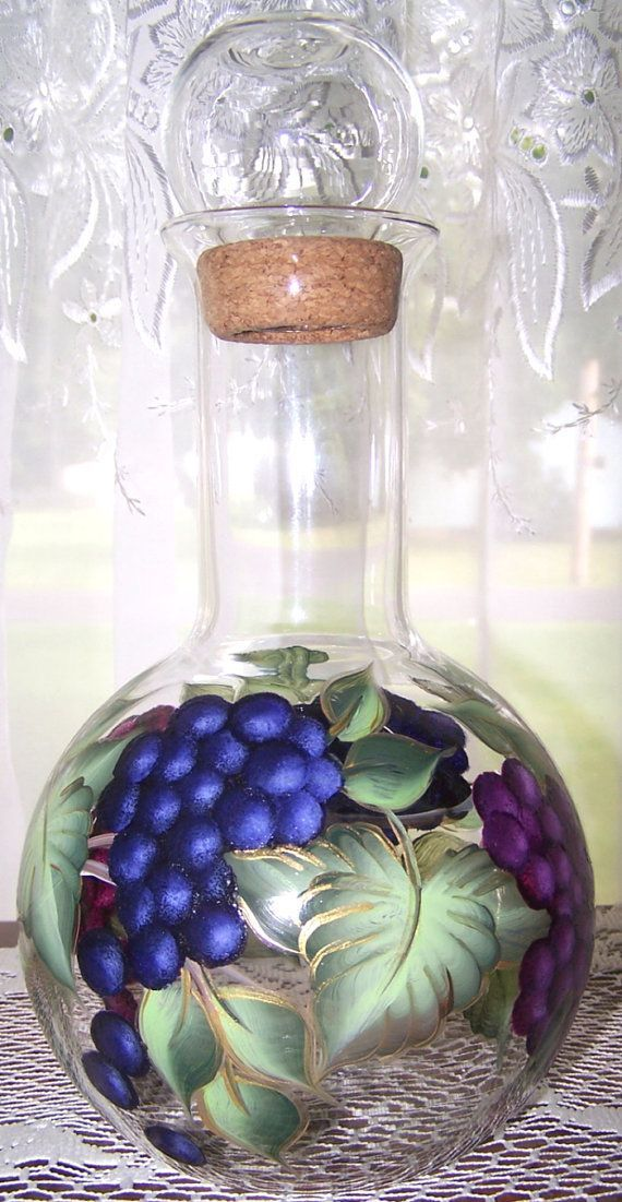 wine decanter with hand painted grapes painted wine bottles bottle painting bottle crafts on kitchen decor pitchers carafes id=95766