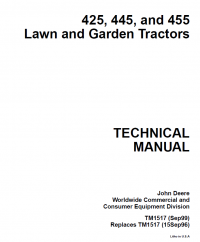 repair manual john deere 425 445 455 lawn garden tractors rh pinterest com john deere z445 operators manual john deere 455 operators manual download