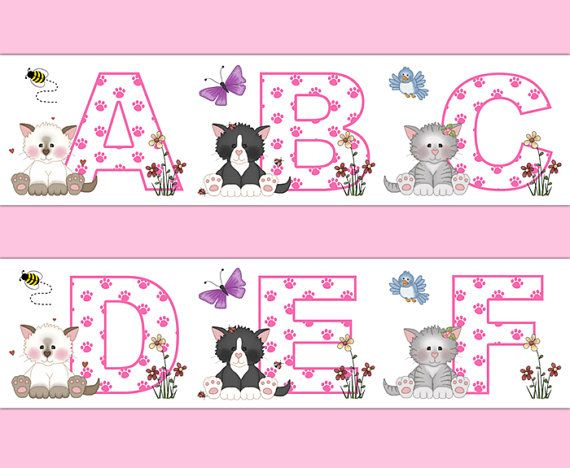 Cat Alphabet Wallpaper Border Pink Letter Wall Decals For Baby - Barnyard nursery wall decals