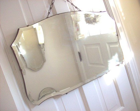 Beveled Wall Mirror antique beveled wall mirror - vintage shabby cottage chic - c1920