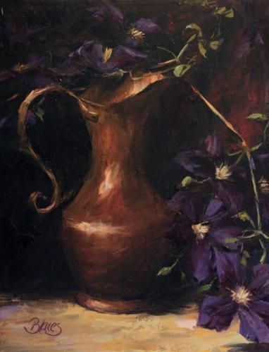 """Clematis and a Copper Pitcher"" by Pamela Blaies"