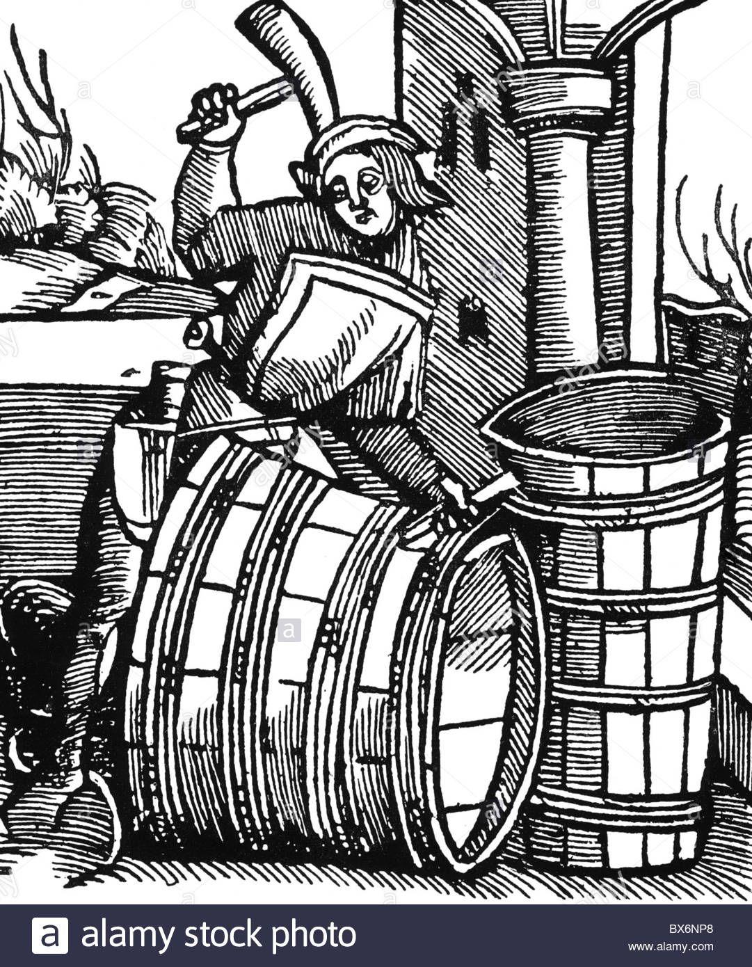 Woodcut Barrel Drawing