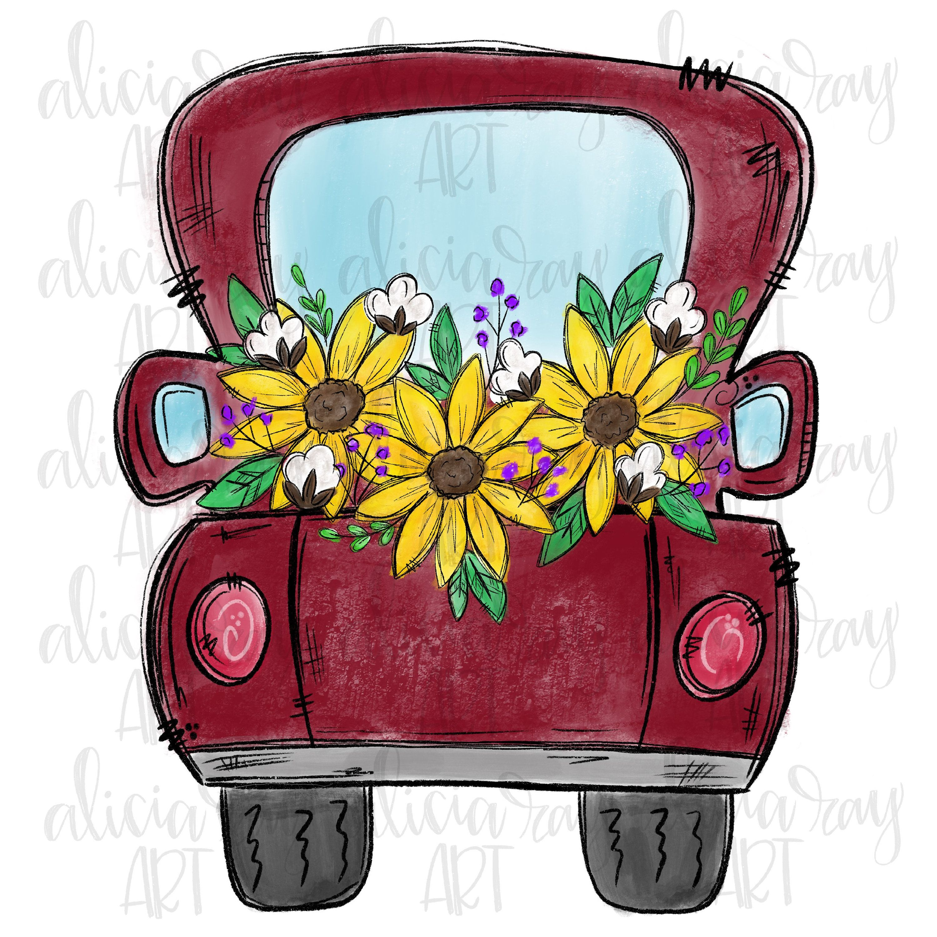 Sunflower Truck Sublimation Design Hand Drawn Cute Fall Etsy Crayon Art Melted Red Sunflowers Framed Art Prints