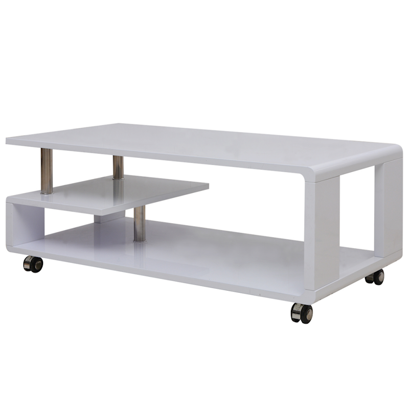 Vidaxl White High Gloss Coffee Side Table Shelf Castor