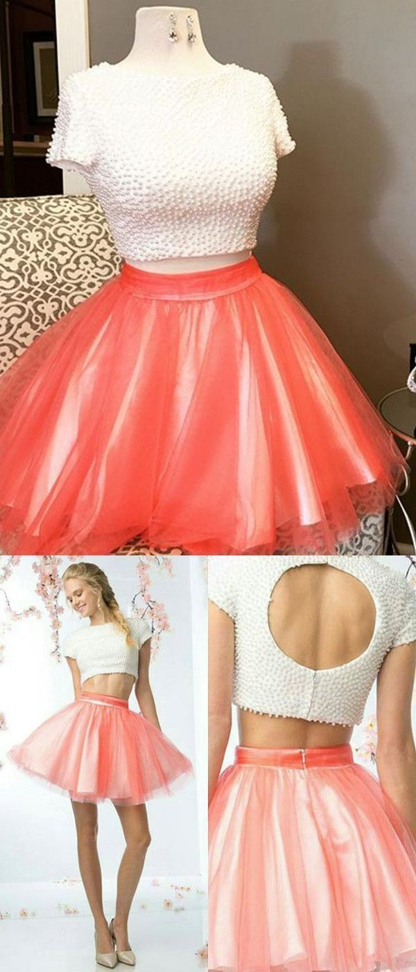 Two pieces homecoming dress short prom drsess homecoming dresses in