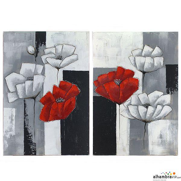 juego cuadros al oleo flores collage these