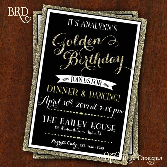 Golden Birthday Party Invitation Gold Black By BradfordRoadDesigns 1500