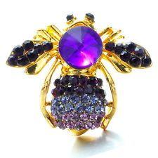 Christmas Gorgeous Bee Animal Charm Pins Broochs Crystals Jewelry Rhinestone