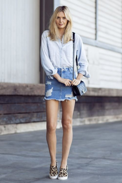 6 Ways To Update Your Denim Mini Skirt The Edit Outfit Ideas