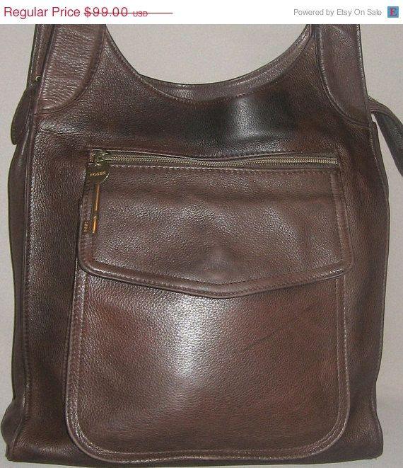 Vintage FOSSIL '80's Pebbled Chocolate Tote Bag by newprairiestore