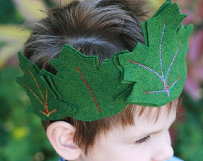Fairy crown - Leaf Crown - Kid's crown - Felt Crown with Maple and Gingko leaves and freshwater pearls