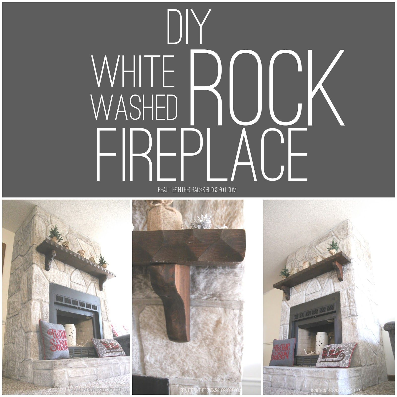 beauties in the cracks diy white washed rock fireplace
