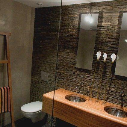 un mur de salle de bain en pierre naturelle Bathroom Pinterest
