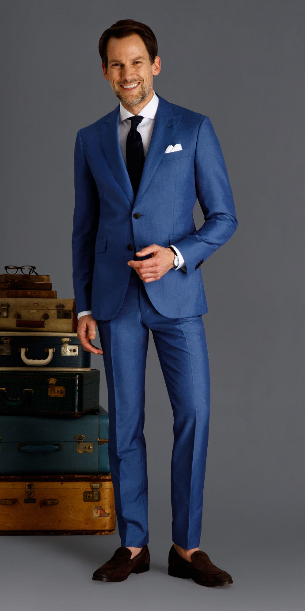 A great choice for a wedding suit, this cobalt blue custom suit ...