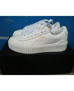 195249333771a2 Puma Rihanna X Creepers Casual Shoes Leather All White Gold