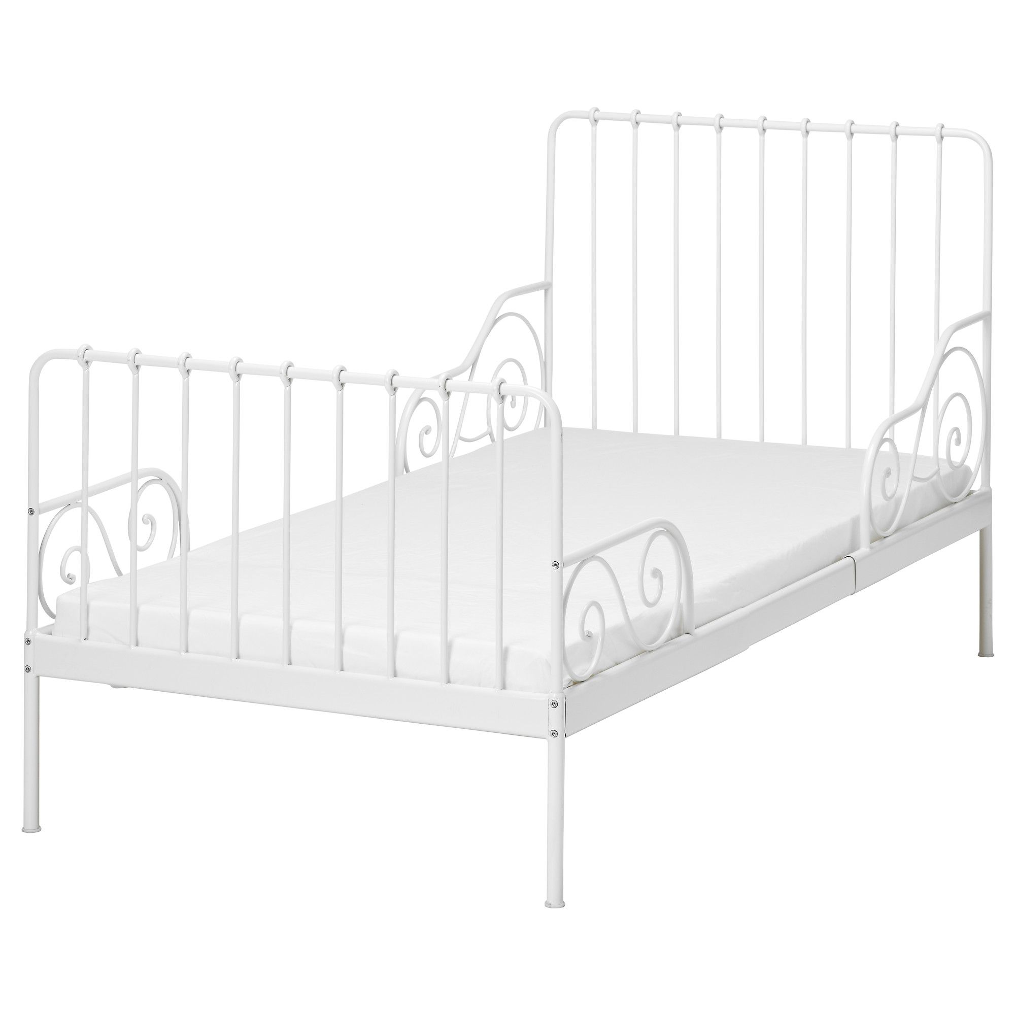 Minnen ext bed frame with slatted bed base white ikea for Bed base ikea