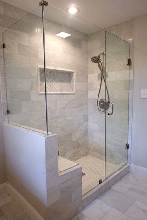Oversized Marble Shower With Bench Showers Master