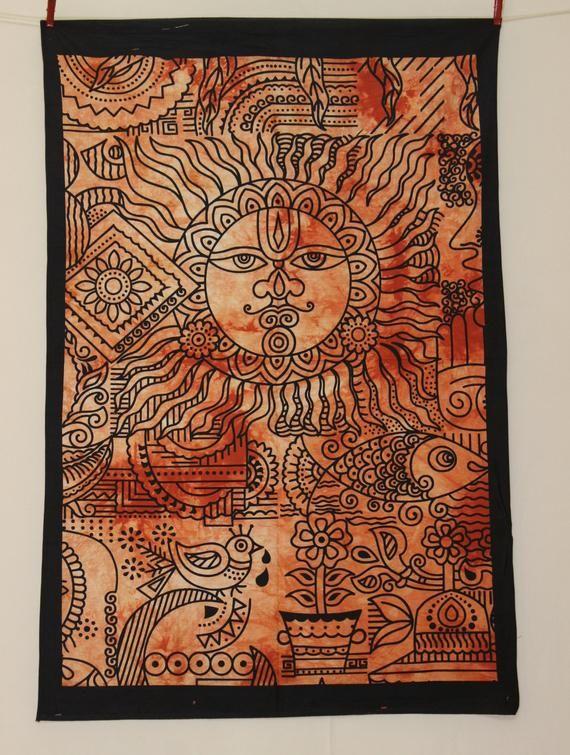 Tapestry Wall Hanging Zodiac Horoscope Cotton Astrology Art Poster Dorm TIE DYE Home Decor