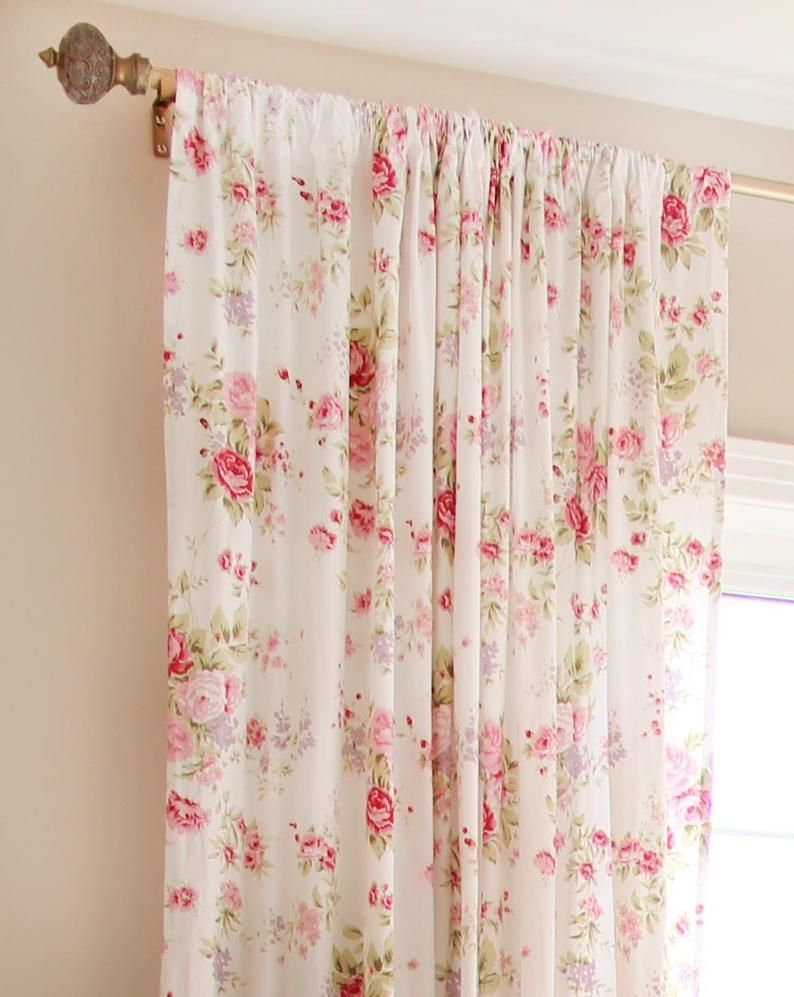 White Pink Romance Farmhouse Cottage French Country Shabby Rose Cotton Curtain Romanceornot In 2020 Shabby Chic Curtains French Country Rug House Interior