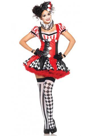 Naughty Harlequin Clown Costume - isexwear Fancy and Party - black skirt halloween costume ideas