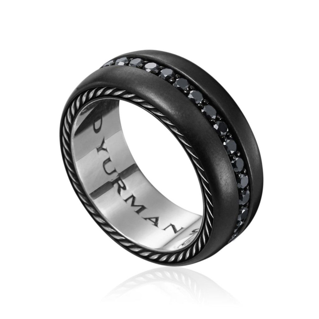 Titanium Black Wedding Rings With Diamonds For Men Ring Black