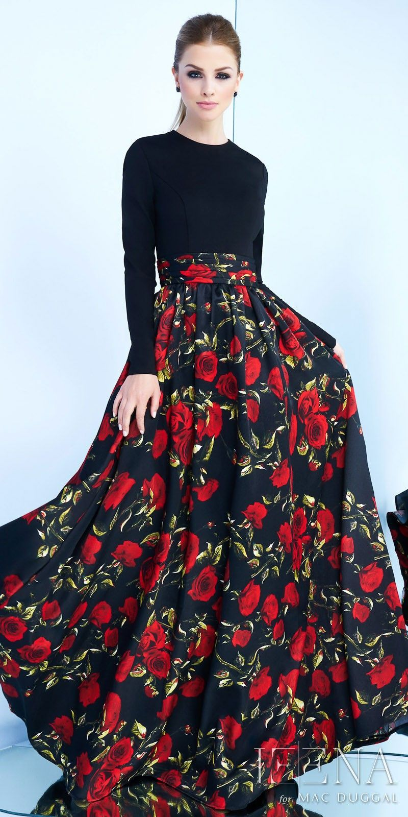 Floral long sleeve fit and flare ball gown by mac duggal veci