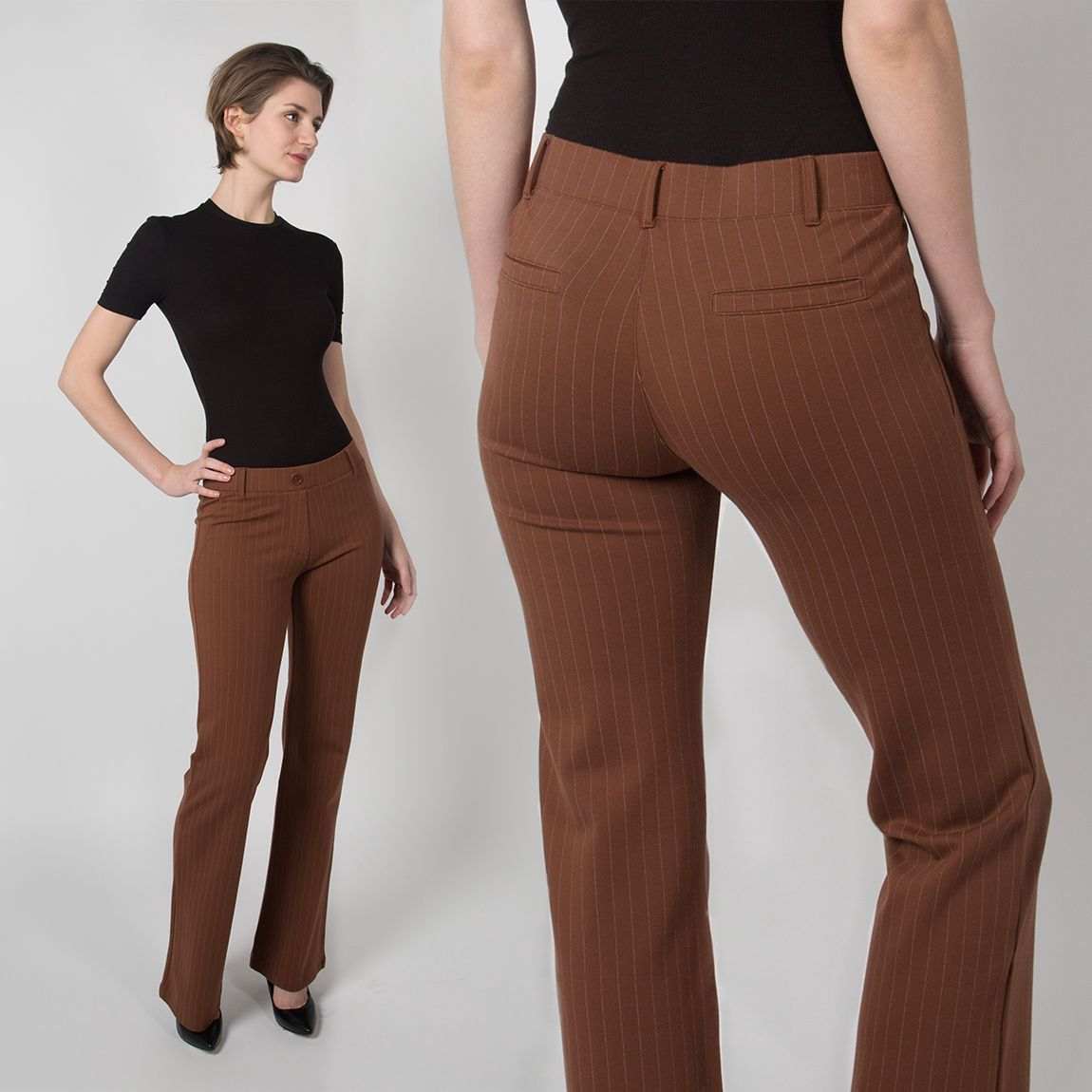 Boot-Cut | Brown Pinstripe Dress Pant Yoga Pants | Betabrand ...