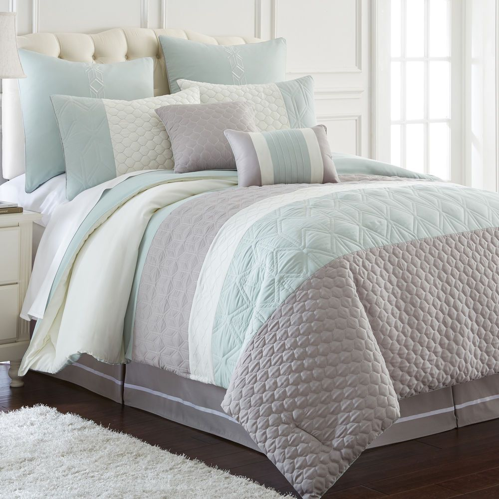 Modern Embroidered Oversized Aqua Grey White 8 Pc Comforter Set Queen King New Blue Grey