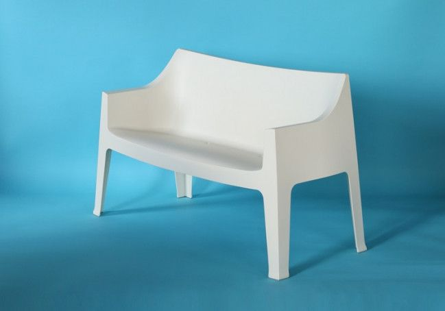 Molded Plastic Stacking Loveseat In Off