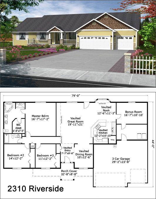 Riverside 2310 Ranch Style House Plans New House Plans Modern Farmhouse Plans