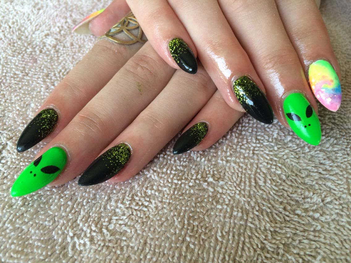 Neon Green And Black Nails Almond Shaped Alien Tie Dye Nails In