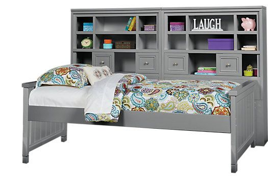Picture Of Cottage Colors Gray 5 Pc Twin Bookcase Wall Bed From Beds Furniture