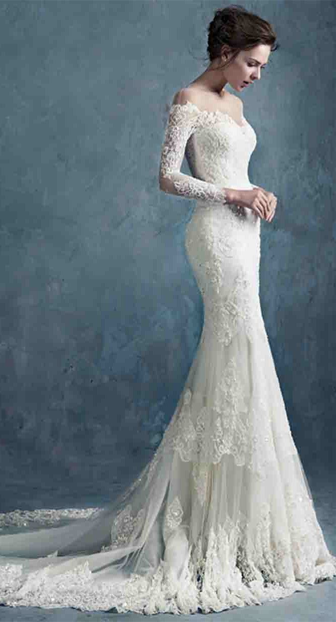 Charming sheer scoop neck lace mermaid wedding dress with long