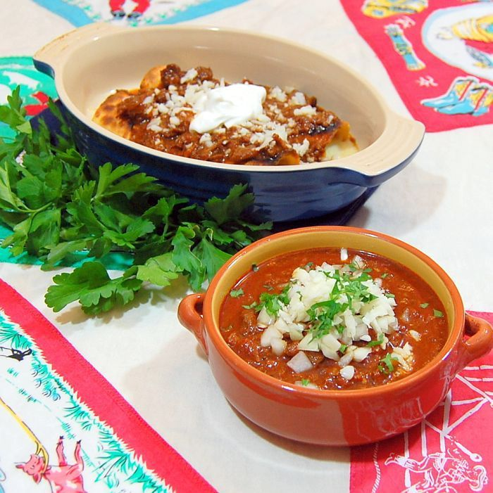 Real Texas chili is good by itself or on almost anything–like enchiladas Chili is a highly personal food. Much like the variety of preferences in Thanksgiving stuffing, every Texan has their …