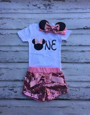 Pink Mouse birthday outfit Onesie Minnie headband sequin shorts babies 1st birthday set Pink black Minnie mouse cake smash