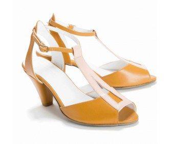 The Regina Heels in Light Pink and Mustard Yellow