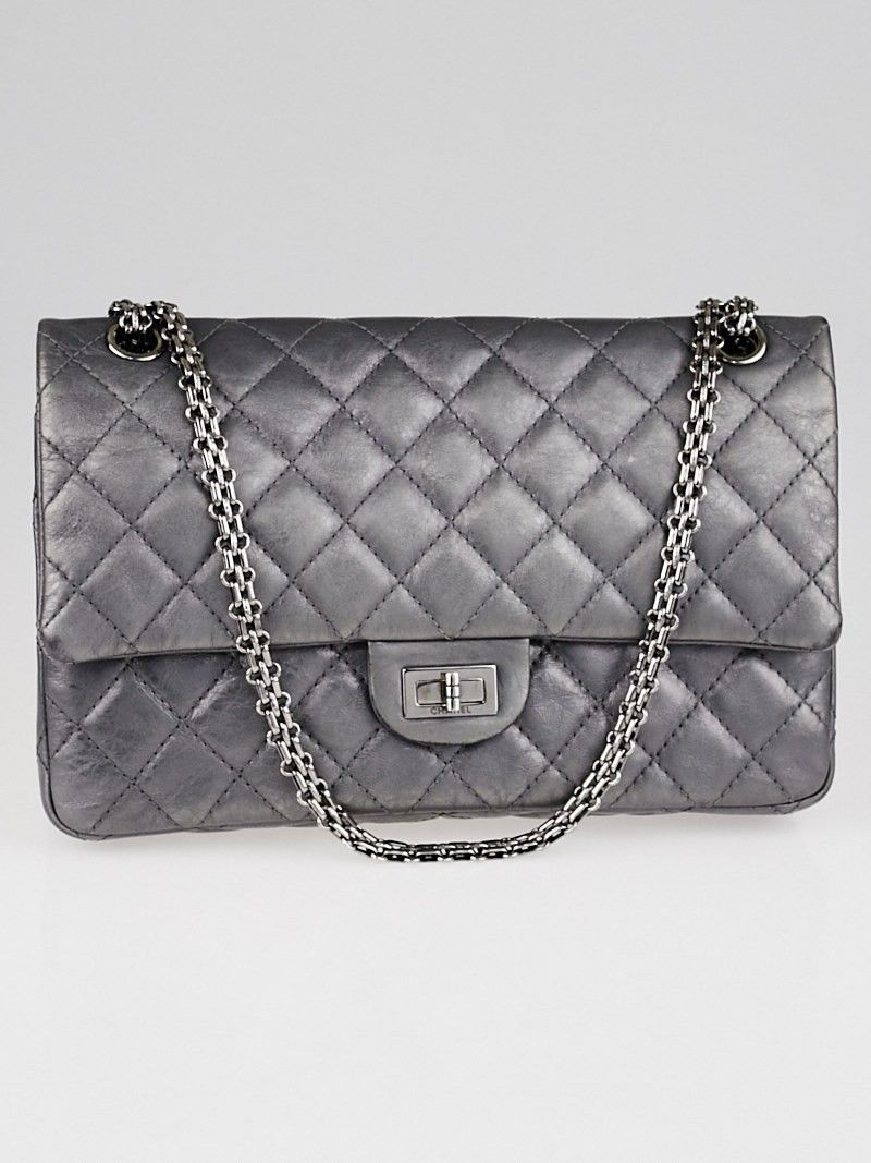 d561d37d526a23 Go glam with this gorgeous Chanel Silver 2.55 Reissue Quilted Classic 226  Flap Bag in this stunning metallic silver color. It is made of metallic  quilted ...