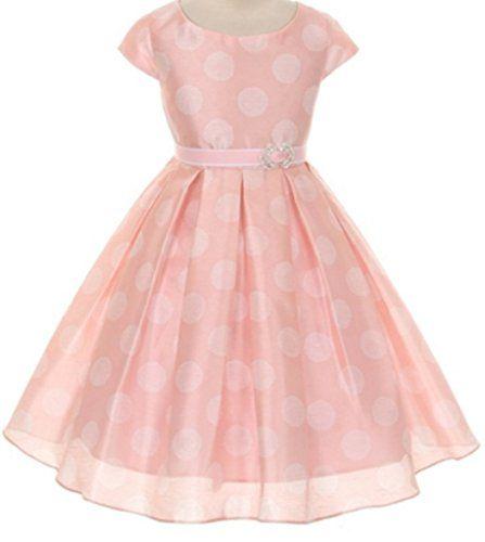3116cfbd5 Big Girls Polka Dot Short Sleeve Flowers Girls Dresses Pink Size 12 ...