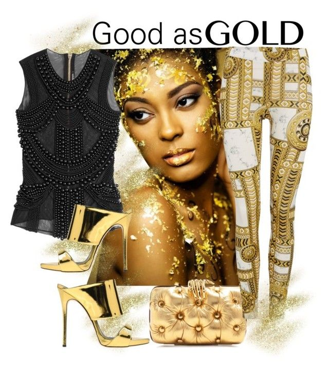 """""""Golden Girl"""" by obsessedaboutstyle ❤ liked on Polyvore featuring Benedetta Bruzziches, Versace, Balmain, Giuseppe Zanotti, gold, fashionista and girl"""