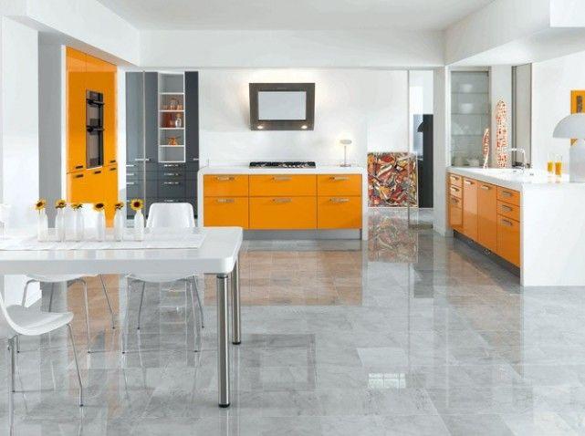 Cuisine orange laque cuisine couleur Pinterest Kitchens and Room