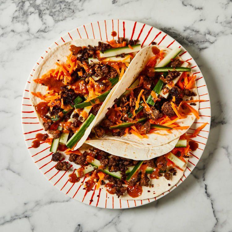 10 Min Sticky Beef Satay Wraps Recipe Gousto Gousto Recipes Quick Meals Recipes